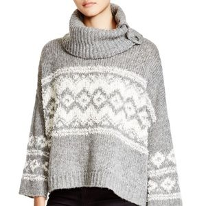 Free People Fair Isle Grey/White Ragnar Pullover